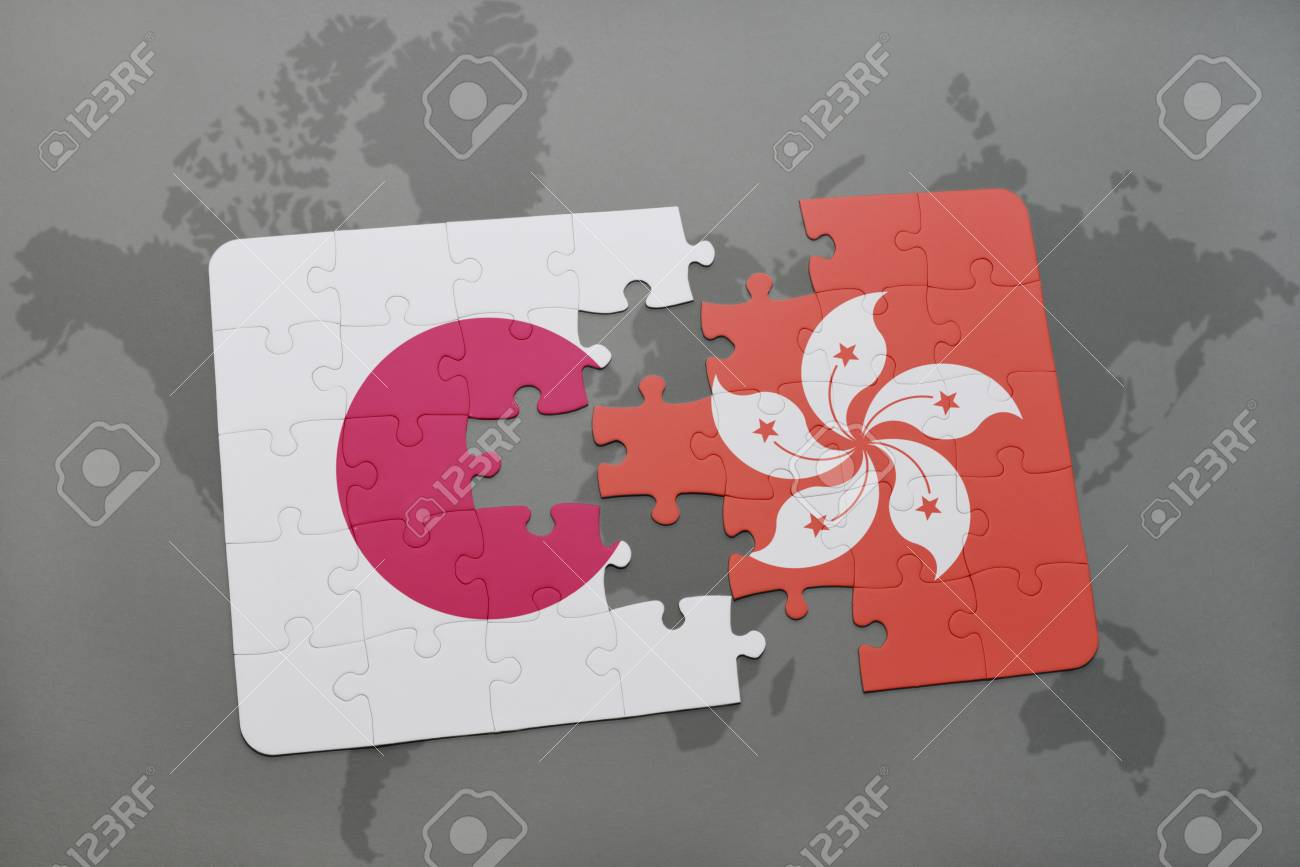 Puzzle with the national flag of japan and hong kong on a world illustration puzzle with the national flag of japan and hong kong on a world map background 3d illustration gumiabroncs Gallery