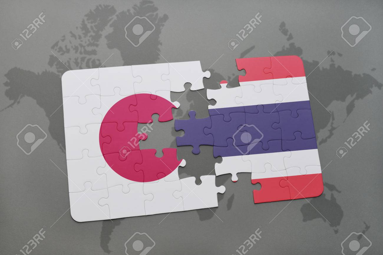 illustration puzzle with the national flag of japan and thailand on a world map background 3d illustration