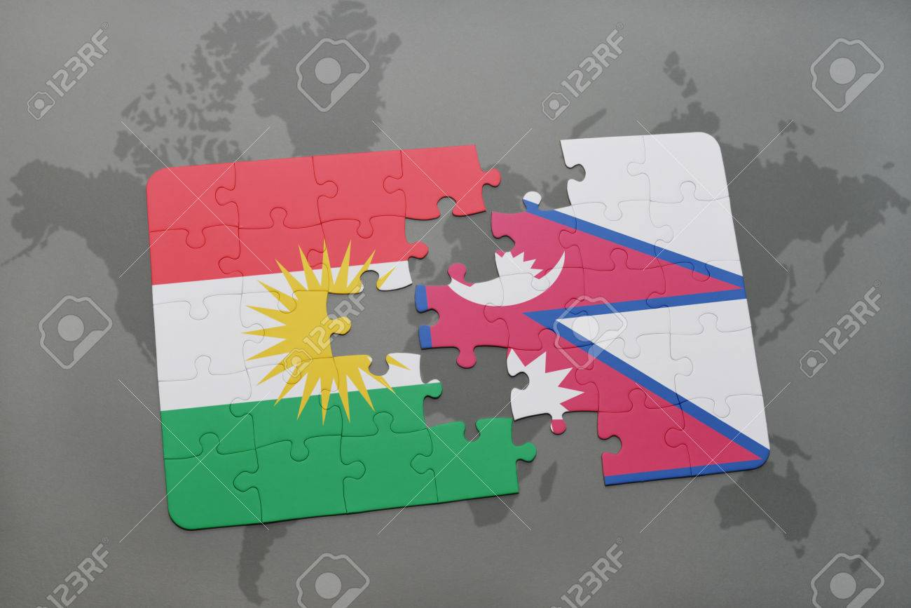 Puzzle with the national flag of kurdistan and nepal on a world map puzzle with the national flag of kurdistan and nepal on a world map background 3d gumiabroncs Gallery