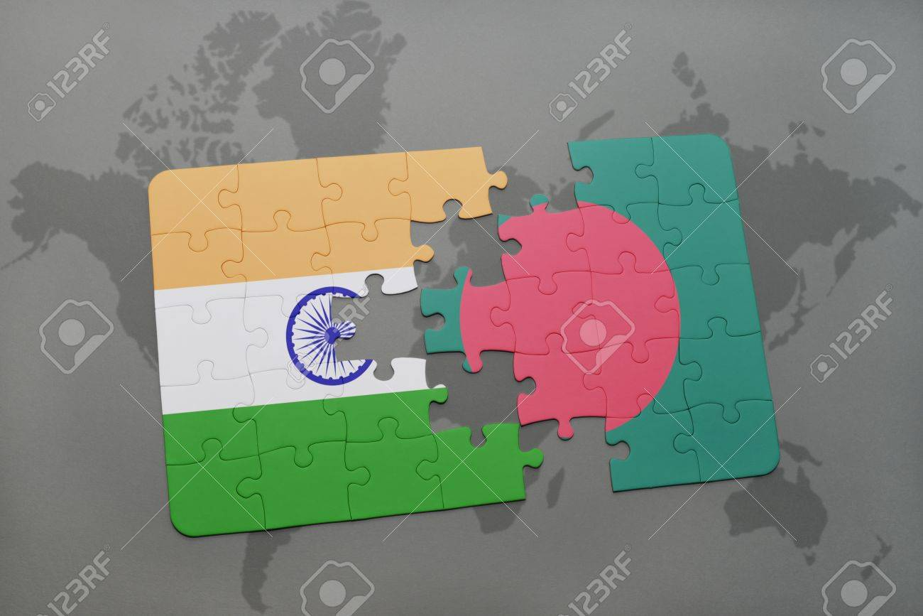 Puzzle with the national flag of india and bangladesh on a world illustration puzzle with the national flag of india and bangladesh on a world map background 3d illustration gumiabroncs Gallery
