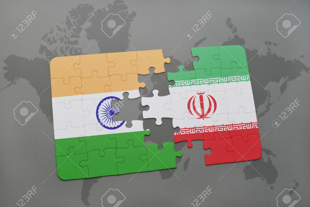 Puzzle with the national flag of india and iran on a world map illustration puzzle with the national flag of india and iran on a world map background 3d illustration gumiabroncs Image collections