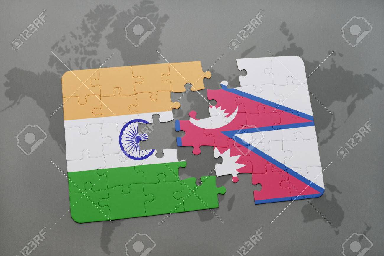 Puzzle with the national flag of india and nepal on a world map illustration puzzle with the national flag of india and nepal on a world map background 3d illustration gumiabroncs Images