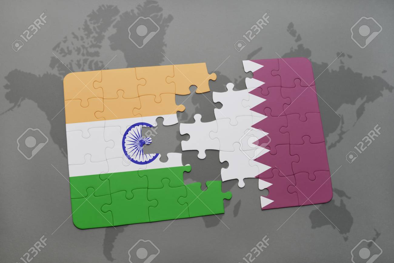 Puzzle with the national flag of india and qatar on a world map illustration puzzle with the national flag of india and qatar on a world map background 3d illustration gumiabroncs Choice Image