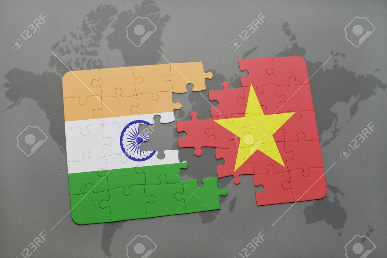 Puzzle with the national flag of india and vietnam on a world illustration puzzle with the national flag of india and vietnam on a world map background 3d illustration gumiabroncs Choice Image