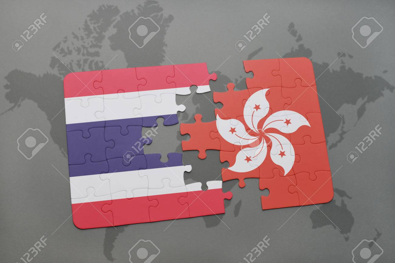 Puzzle with the national flag of thailand and hong kong on a stock illustration puzzle with the national flag of thailand and hong kong on a world map background 3d illustration gumiabroncs Choice Image