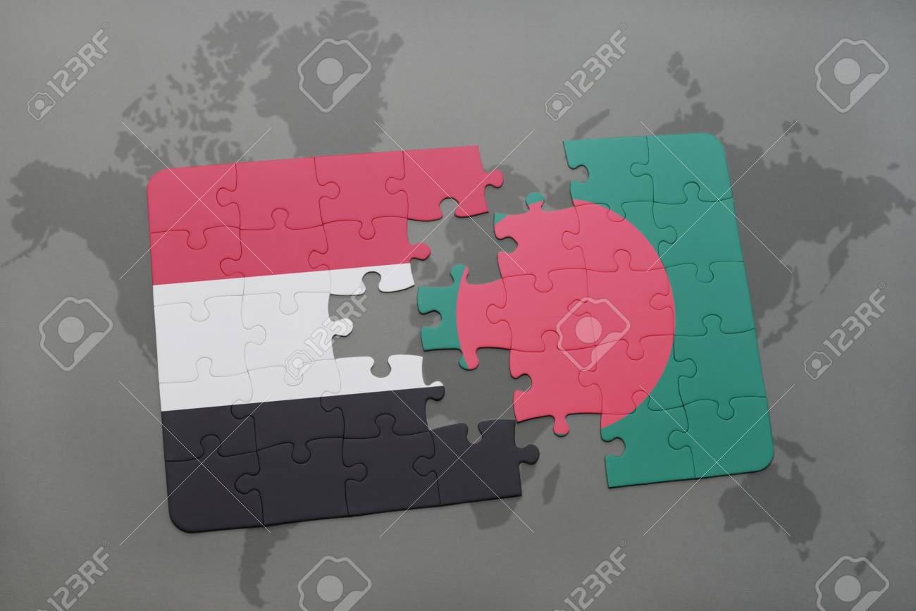Puzzle with the national flag of yemen and bangladesh on a world map puzzle with the national flag of yemen and bangladesh on a world map background 3d gumiabroncs Gallery