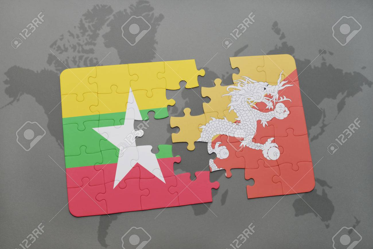 Puzzle with the national flag of myanmar and bhutan on a world illustration puzzle with the national flag of myanmar and bhutan on a world map background 3d illustration gumiabroncs Image collections