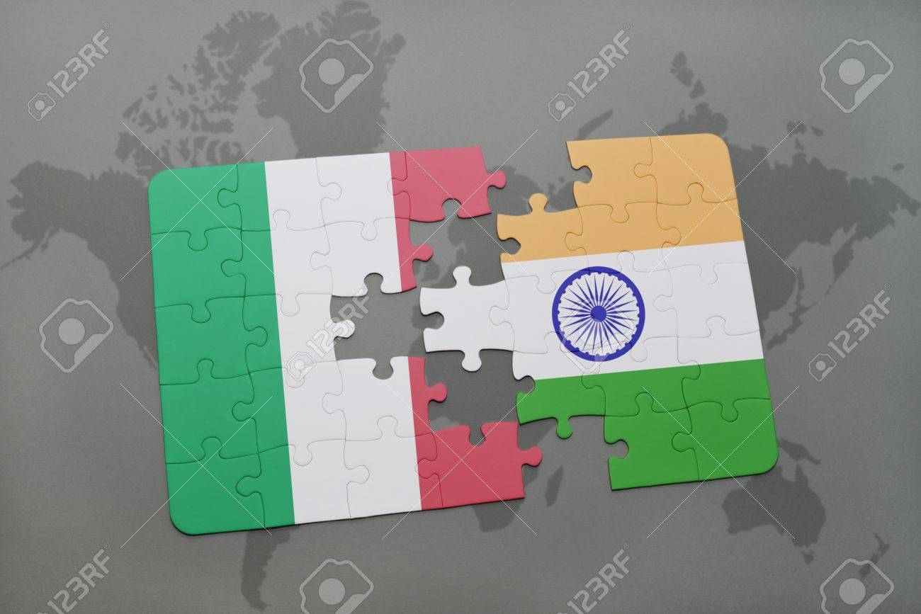 Puzzle with the national flag of italy and india on a world map illustration puzzle with the national flag of italy and india on a world map background 3d illustration gumiabroncs Gallery