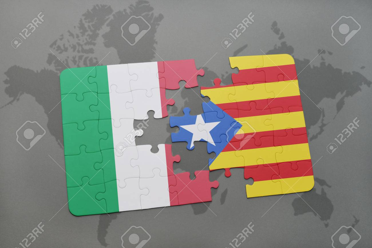 Puzzle with the national flag of italy and catalonia on a world illustration puzzle with the national flag of italy and catalonia on a world map background 3d illustration gumiabroncs Image collections