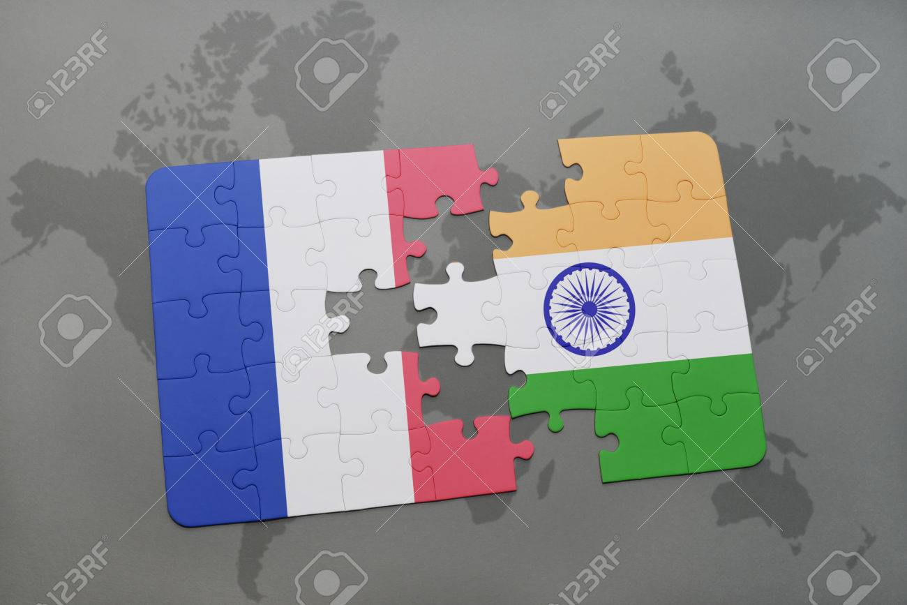 Puzzle with the national flag of france and india on a world stock illustration puzzle with the national flag of france and india on a world map background 3d illustration gumiabroncs Gallery