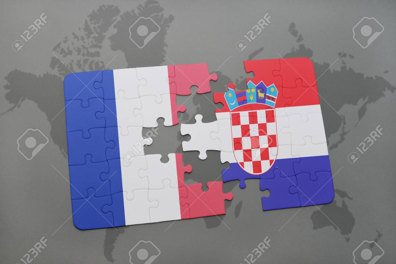 Puzzle with the national flag of france and croatia on a world illustration puzzle with the national flag of france and croatia on a world map background 3d illustration gumiabroncs Image collections