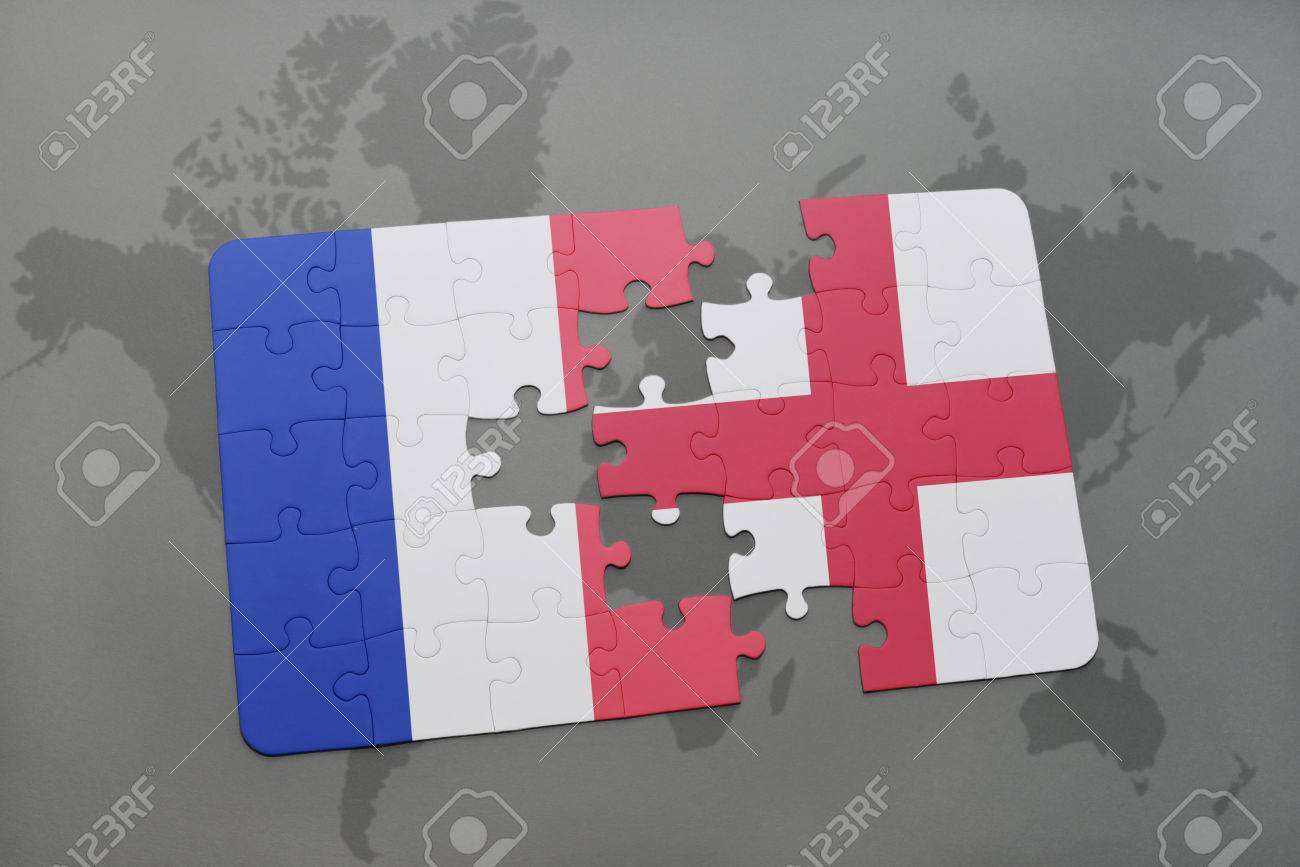 Puzzle with the national flag of france and england on a world illustration puzzle with the national flag of france and england on a world map background 3d illustration gumiabroncs Gallery