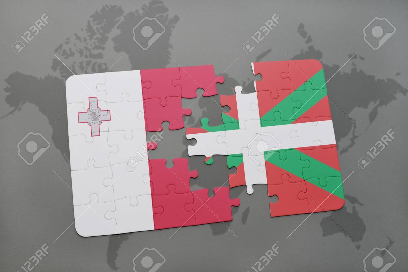 Puzzle with the national flag of malta and basque country on stock illustration puzzle with the national flag of malta and basque country on a world map background 3d illustration gumiabroncs Images