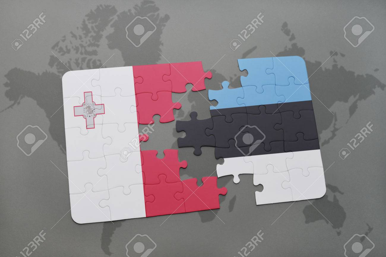 Puzzle with the national flag of malta and estonia on a world puzzle with the national flag of malta and estonia on a world map background 3d gumiabroncs Image collections