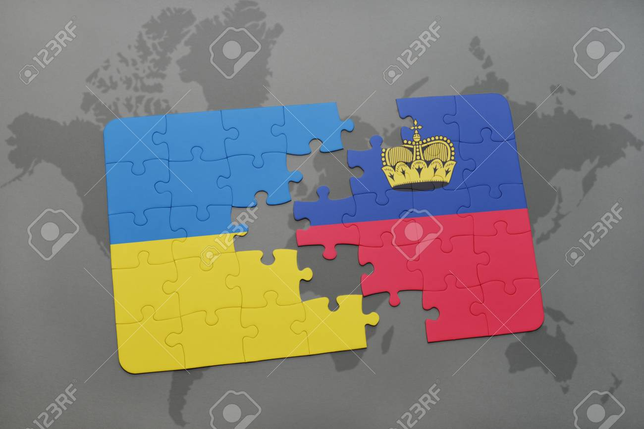 Puzzle With The National Flag Of Ukraine And Liechtenstein On