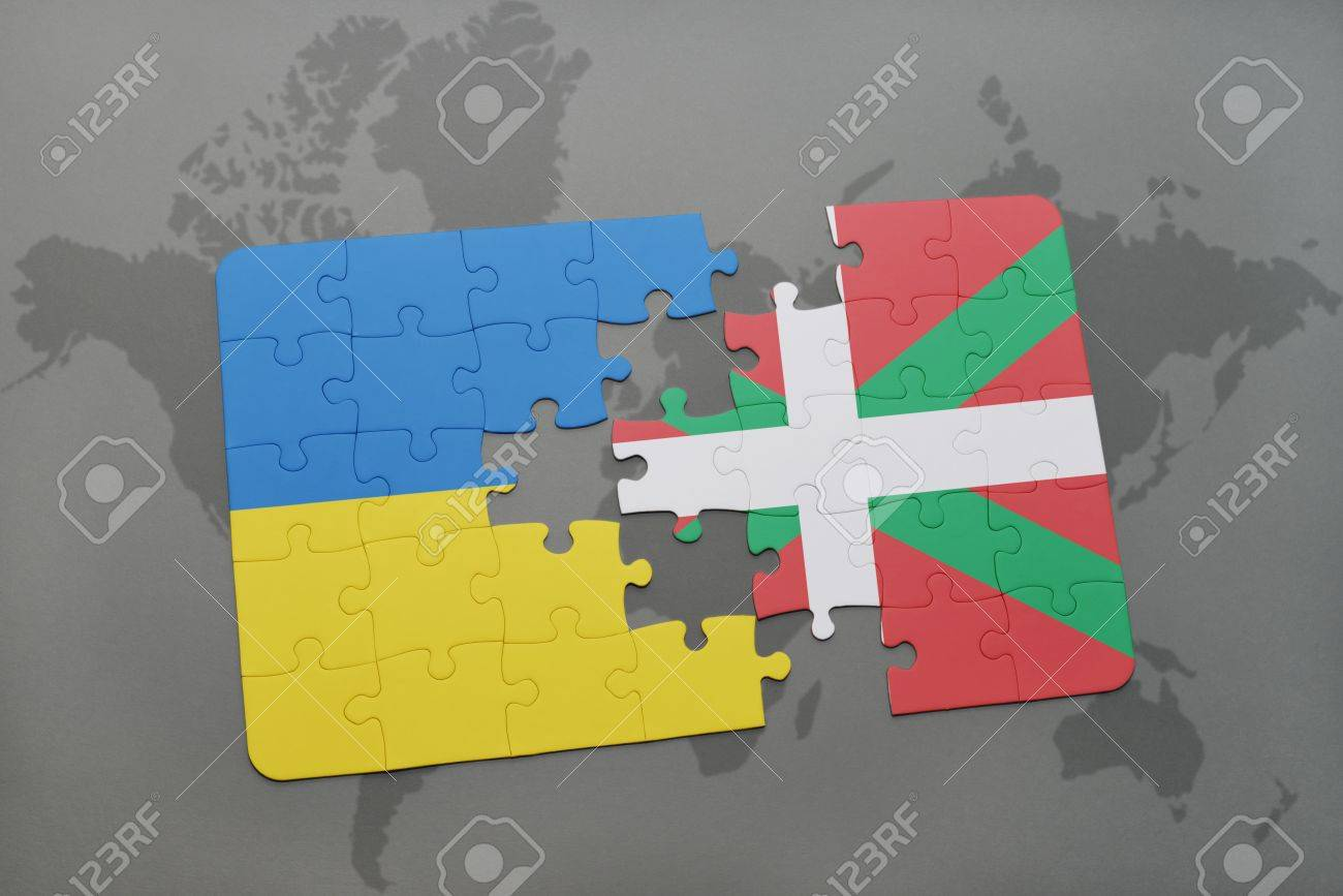 Puzzle with the national flag of ukraine and basque country on illustration puzzle with the national flag of ukraine and basque country on a world map background 3d illustration gumiabroncs Images