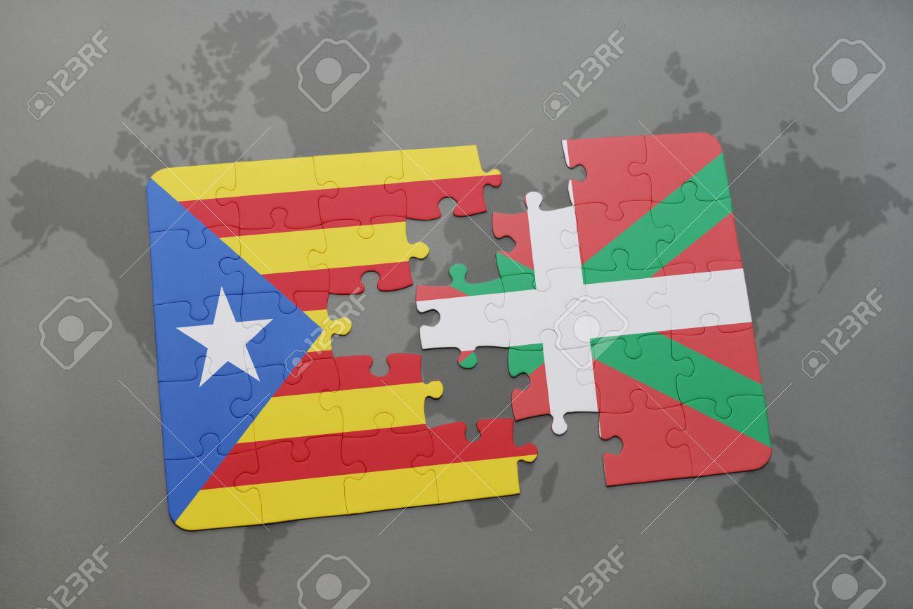Puzzle Con La Bandera Nacional De Cataluña Y País Vasco En Un Mapa ...