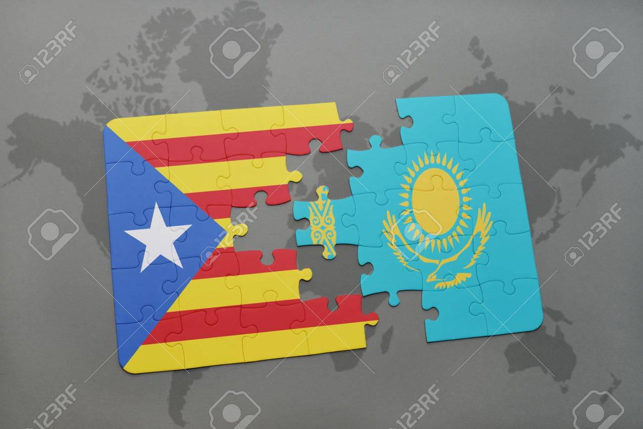World Map Catalonia. puzzle with the national flag of catalonia and kazakhstan on a world map  background 3D Puzzle With The National Flag Of Catalonia And Kazakhstan On