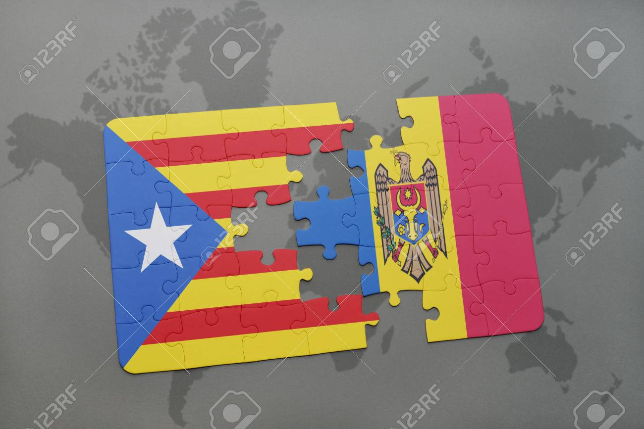 illustration puzzle with the national flag of catalonia and moldova on a world map background 3d illustration