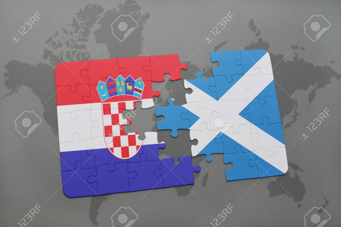 Puzzle with the national flag of croatia and scotland on a world map puzzle with the national flag of croatia and scotland on a world map background 3d gumiabroncs Images