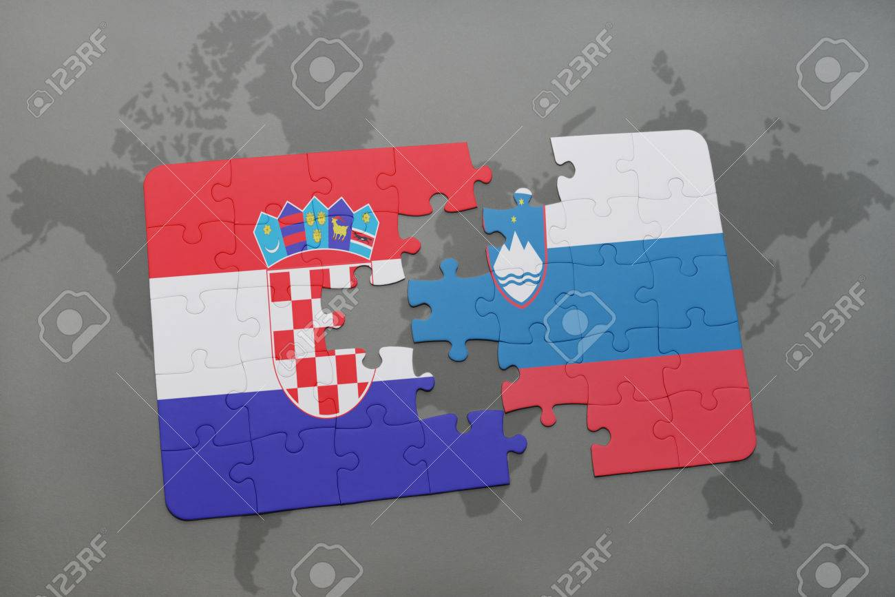 Puzzle with the national flag of croatia and slovenia on a world illustration puzzle with the national flag of croatia and slovenia on a world map background 3d illustration gumiabroncs Gallery