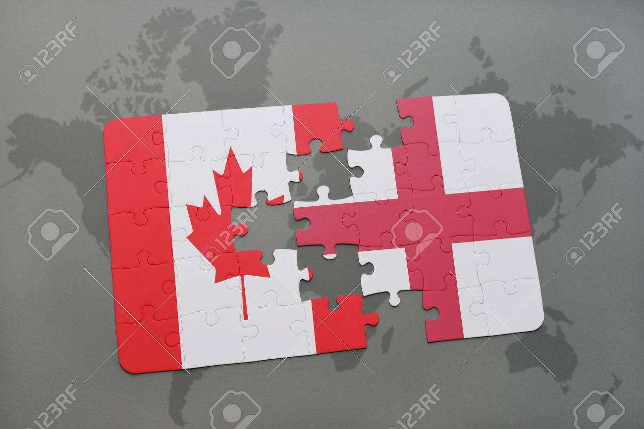 Puzzle with the national flag of canada and england on a world illustration puzzle with the national flag of canada and england on a world map background 3d illustration gumiabroncs Gallery