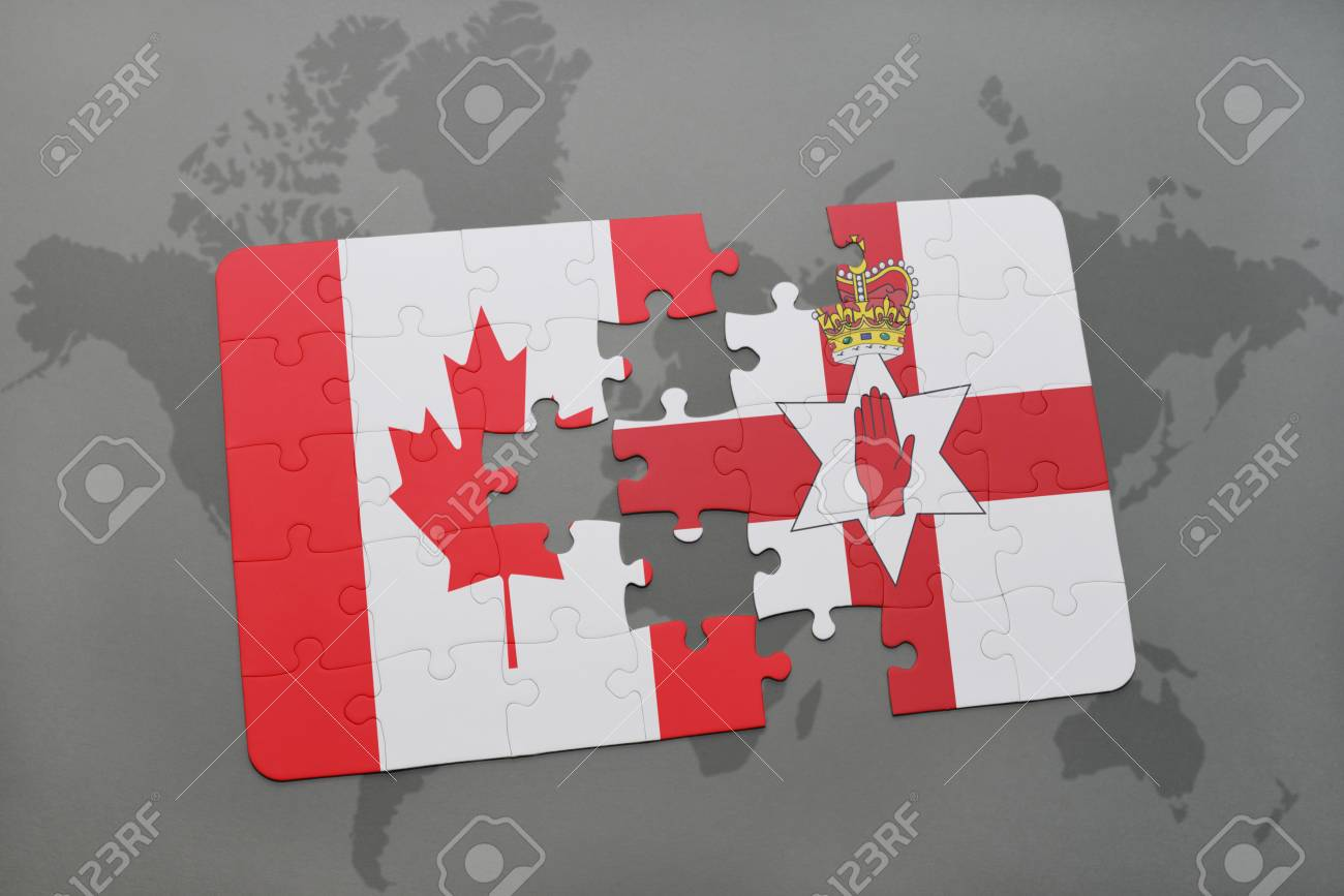 Puzzle with the national flag of canada and northern ireland stock illustration puzzle with the national flag of canada and northern ireland on a world map background 3d illustration gumiabroncs Gallery