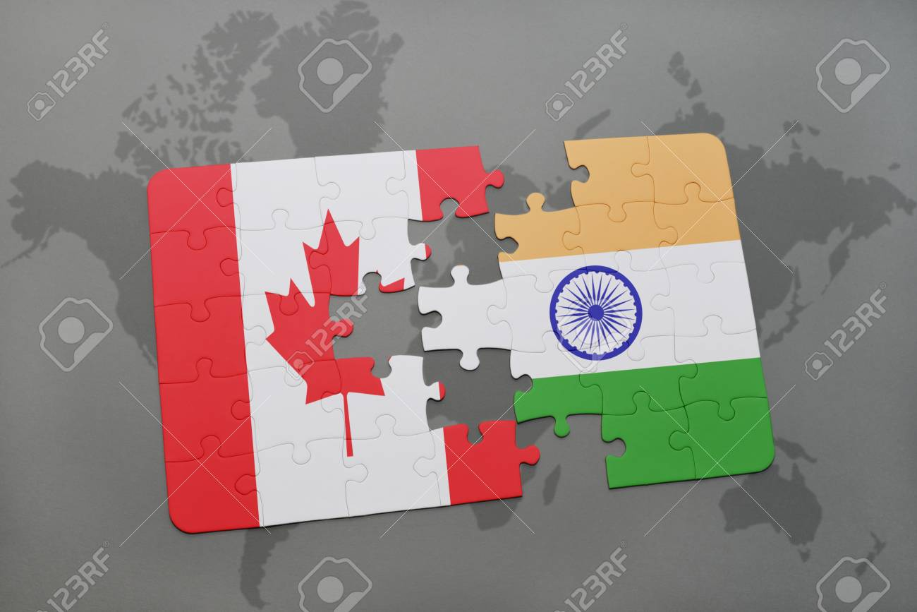 World Map India To Canada Puzzle With The National Flag Of Canada And India On A World