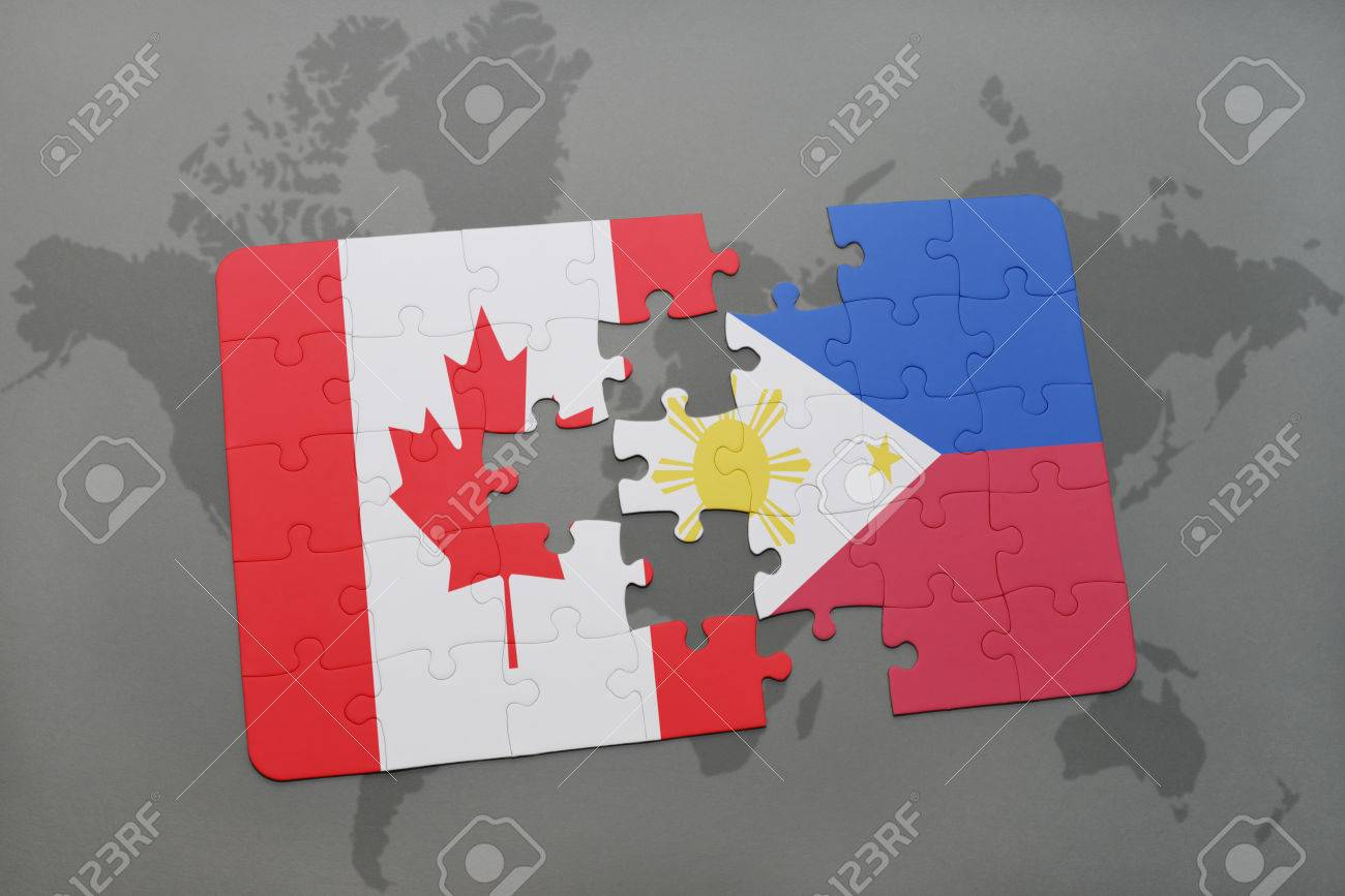 Puzzle with the national flag of canada and philippines on a stock illustration puzzle with the national flag of canada and philippines on a world map background 3d illustration gumiabroncs Choice Image