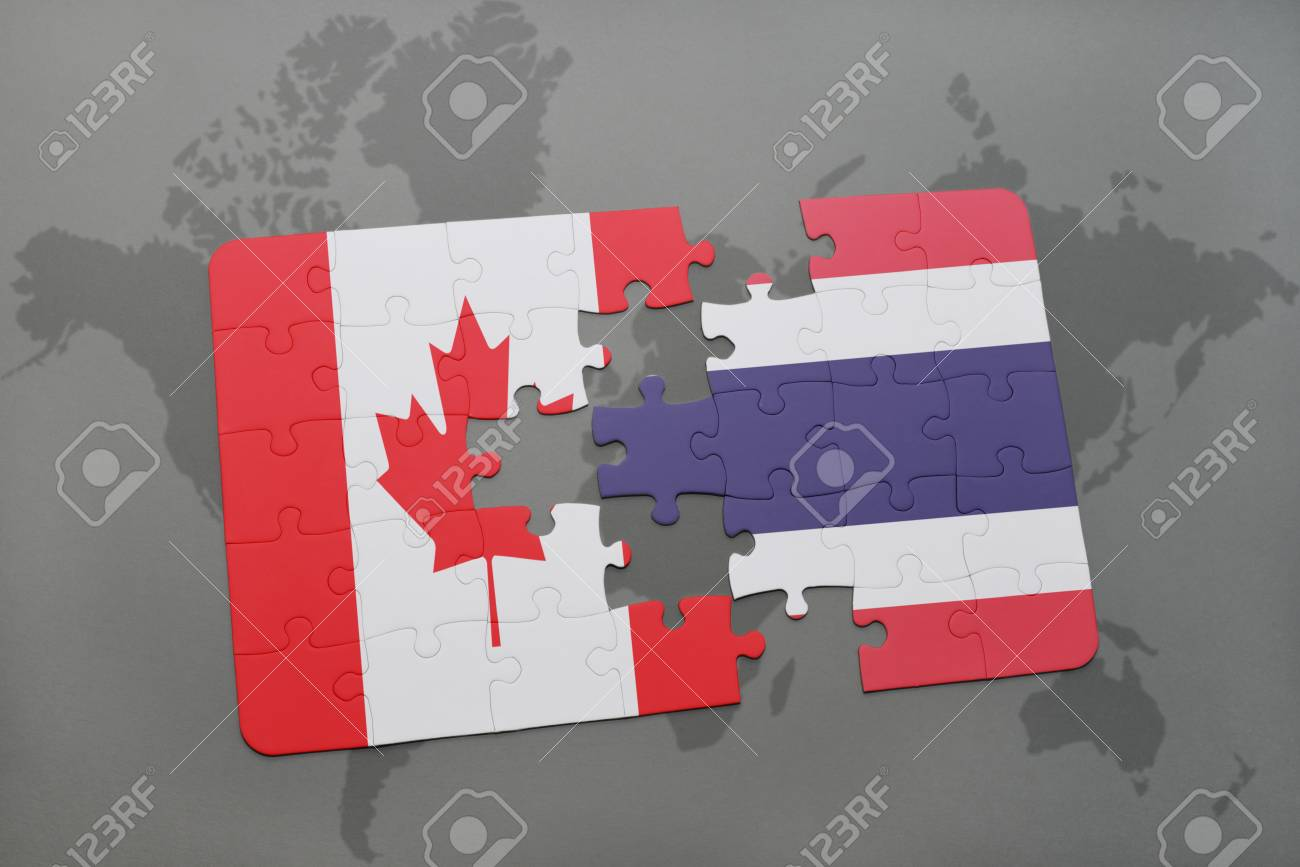 Puzzle with the national flag of canada and thailand on a world illustration puzzle with the national flag of canada and thailand on a world map background 3d illustration gumiabroncs Choice Image