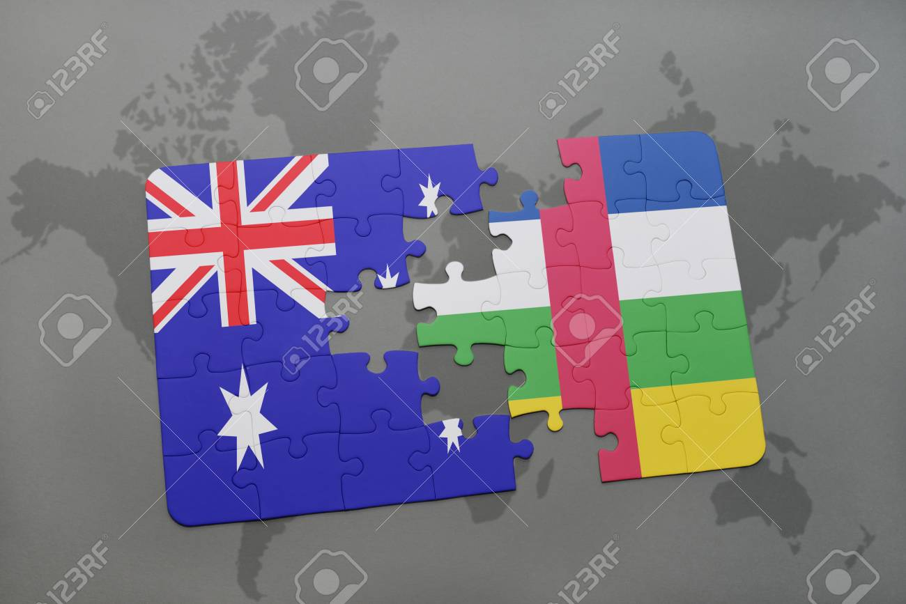 Puzzle with the national flag of australia and central african illustration puzzle with the national flag of australia and central african republic on a world map background 3d illustration gumiabroncs Gallery