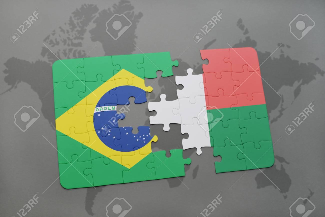 Casse Tête Avec Le Drapeau National Du Brésil Et Madagascar Sur Une Carte Du Monde Arrière Plan Illustration 3d