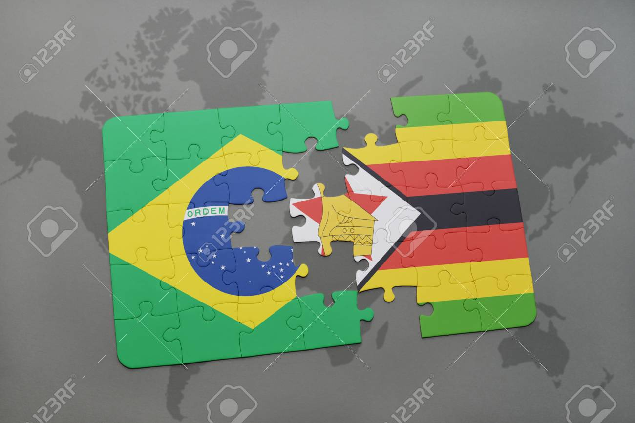 Puzzle with the national flag of brazil and zimbabwe on a world map puzzle with the national flag of brazil and zimbabwe on a world map background 3d gumiabroncs Image collections