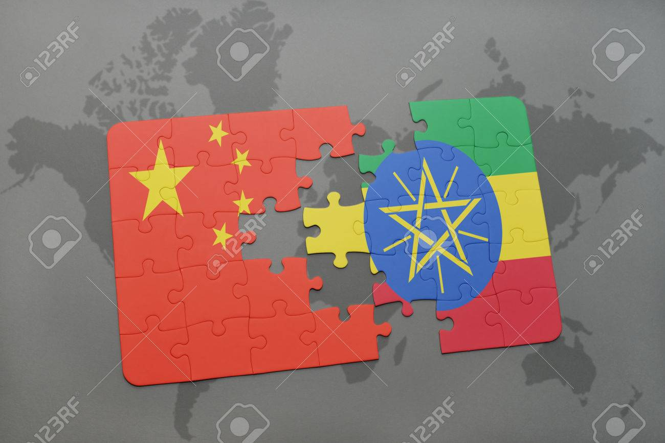 China Map Puzzle.Puzzle With The National Flag Of China And Ethiopia On A World