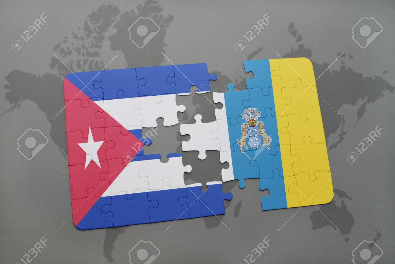 Puzzle with the national flag of cuba and canary islands on a illustration puzzle with the national flag of cuba and canary islands on a world map background 3d illustration gumiabroncs Choice Image