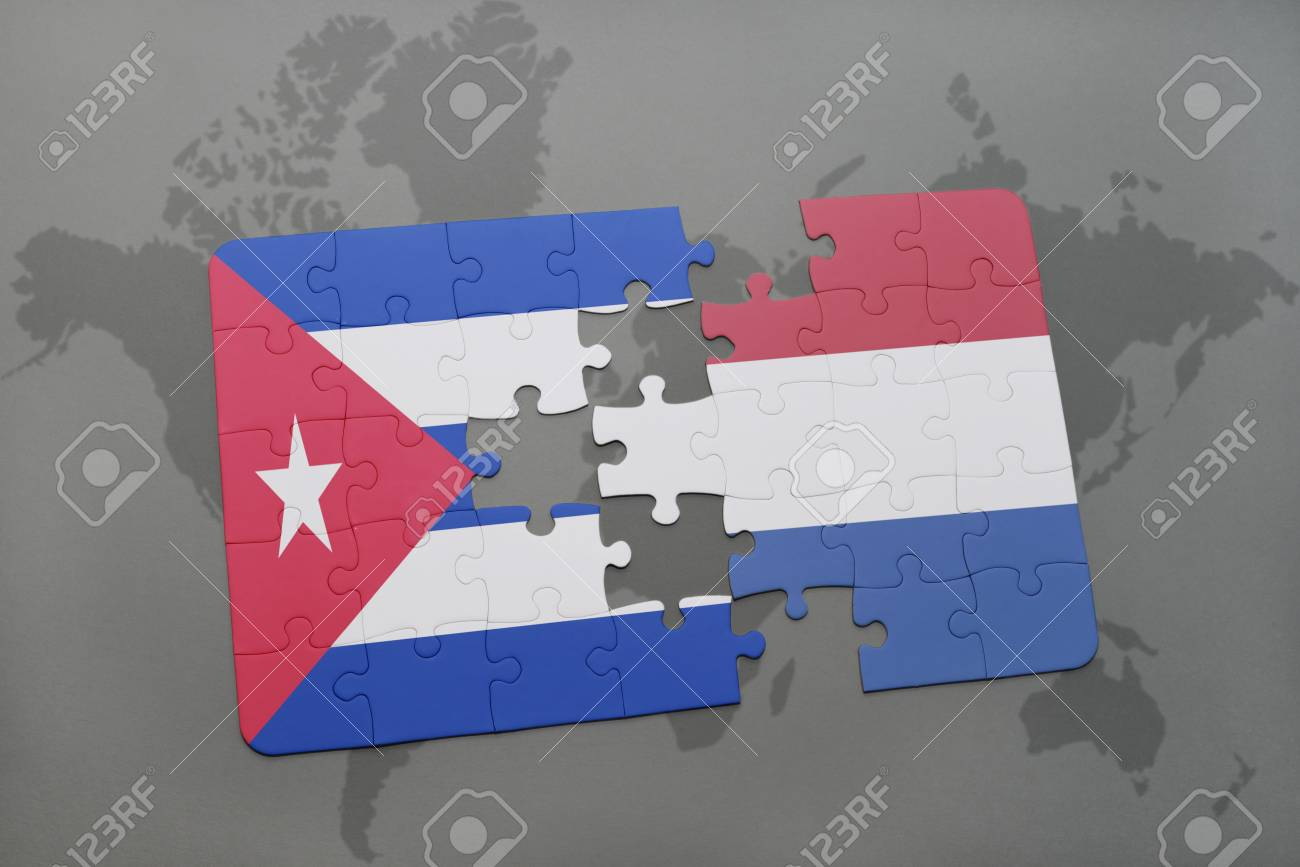 Puzzle With The National Flag Of Cuba And Netherlands On A World