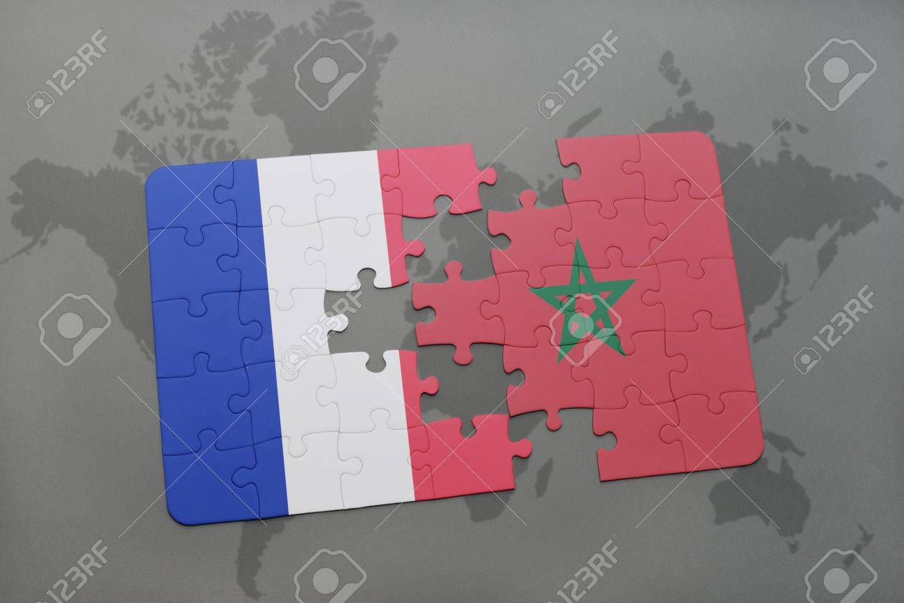 Puzzle with the national flag of france and morocco on a world puzzle with the national flag of france and morocco on a world map background 3d gumiabroncs Image collections