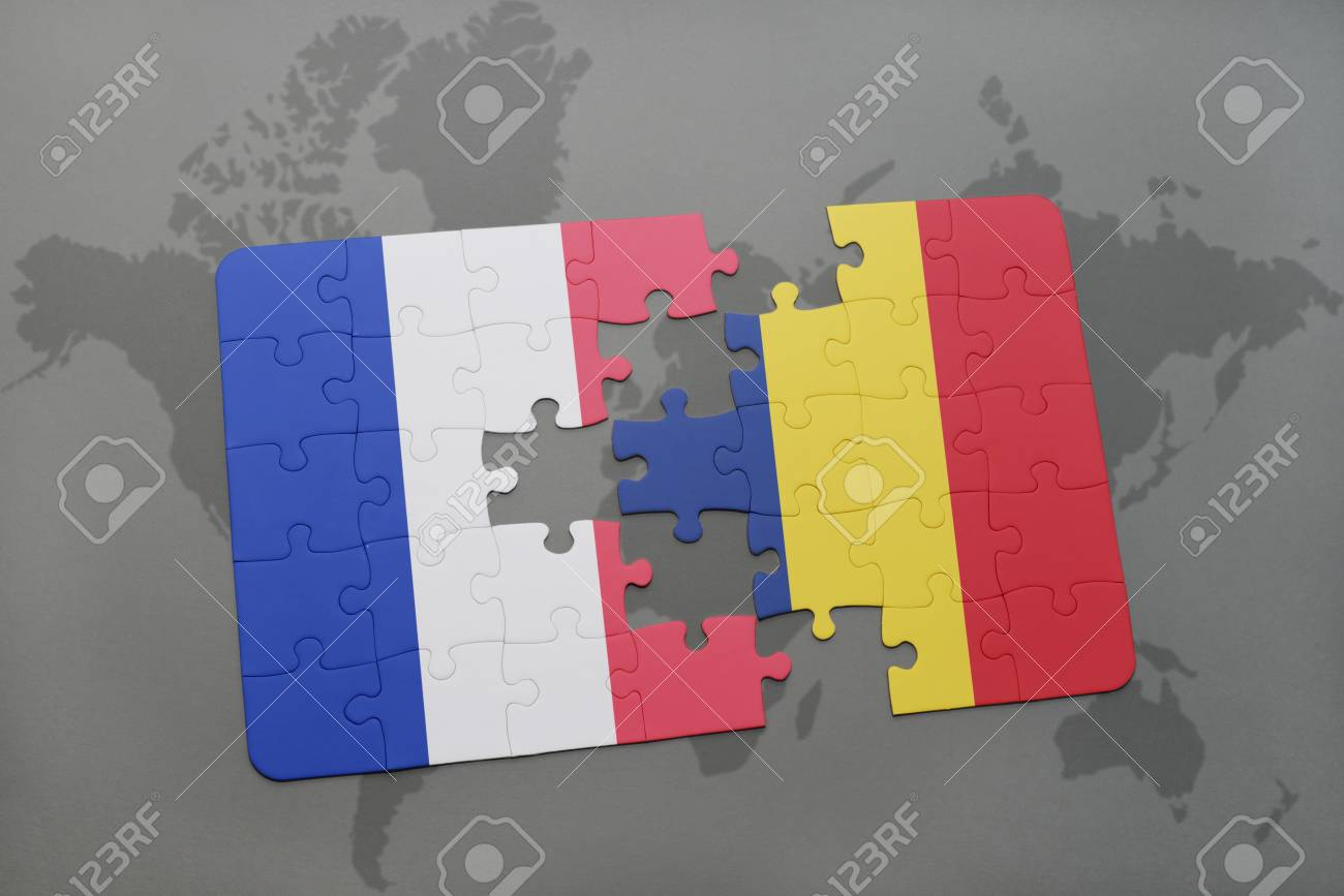 Puzzle with the national flag of france and chad on a world map illustration puzzle with the national flag of france and chad on a world map background 3d illustration gumiabroncs
