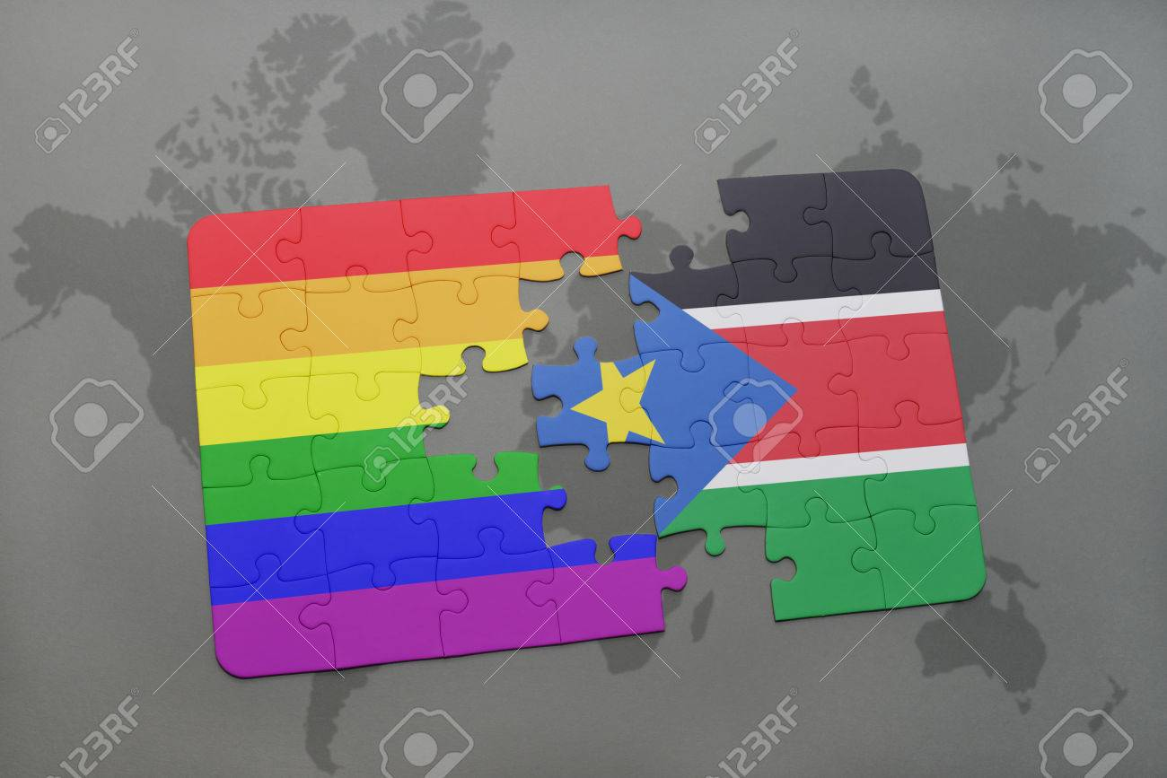 puzzle with the national flag of south sudan and gay rainbow.. stock