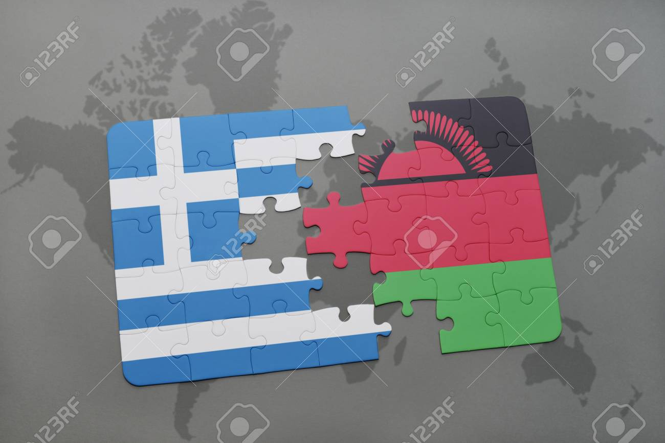 Puzzle With The National Flag Of Greece And Malawi On A World