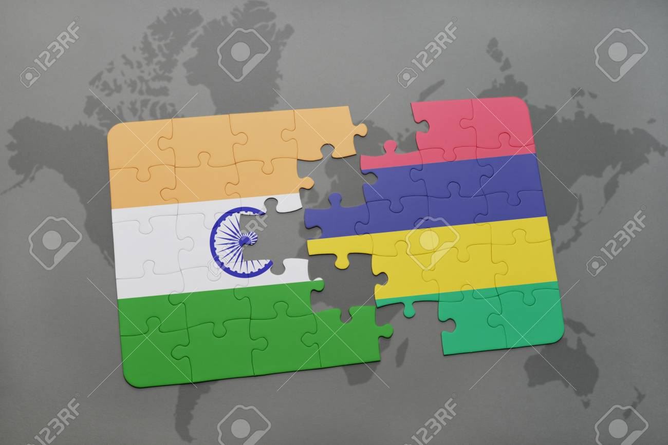 Puzzle with the national flag of india and mauritius on a world puzzle with the national flag of india and mauritius on a world map background 3d gumiabroncs Gallery
