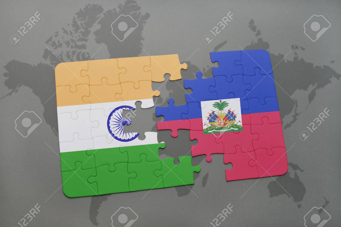 Puzzle with the national flag of india and haiti on a world map illustration puzzle with the national flag of india and haiti on a world map background 3d illustration gumiabroncs Images