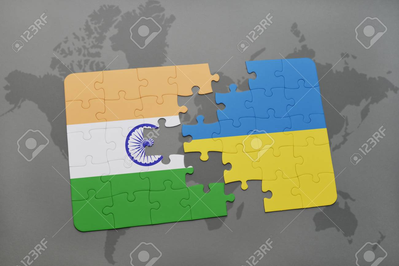 illustration puzzle with the national flag of india and ukraine on a world map background 3d illustration