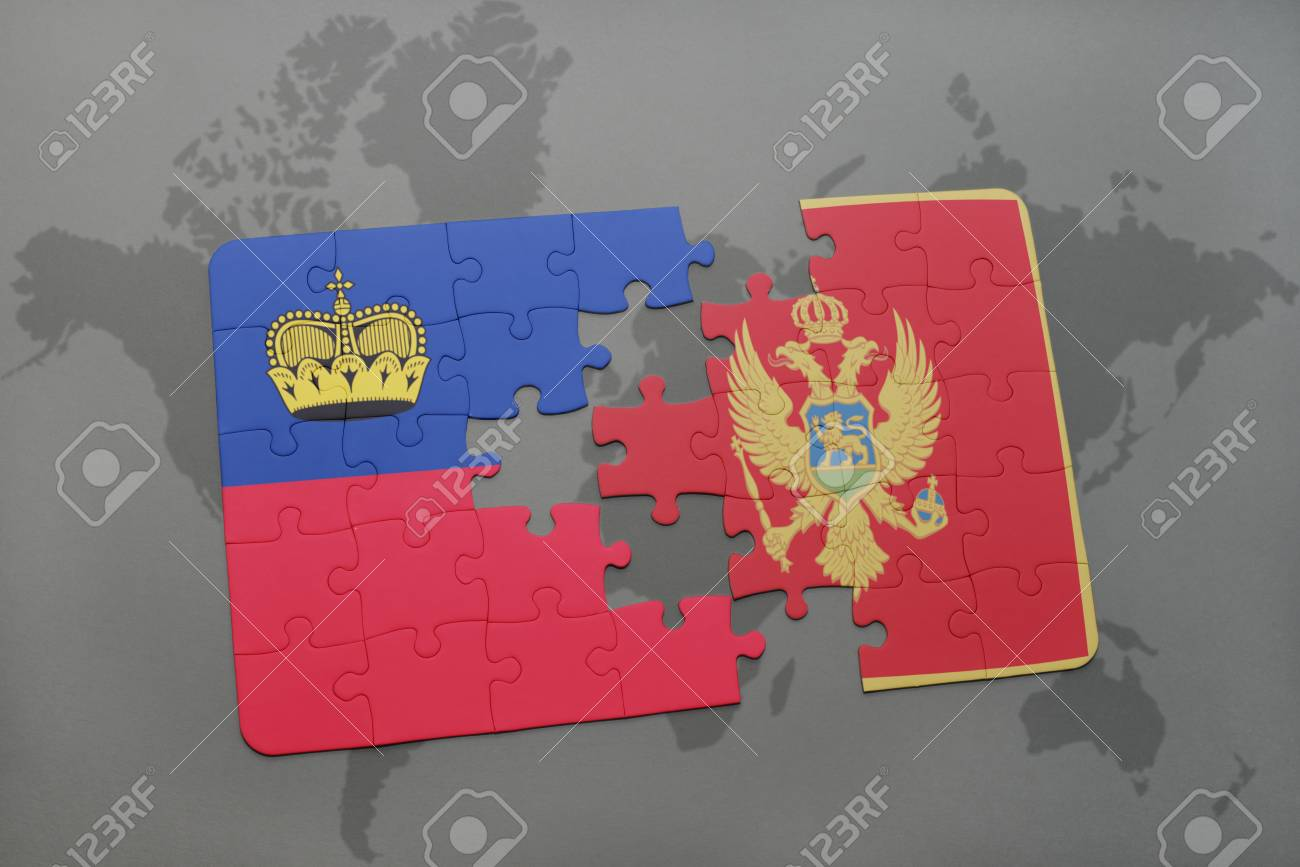 Puzzle With The National Flag Of Liechtenstein And Montenegro