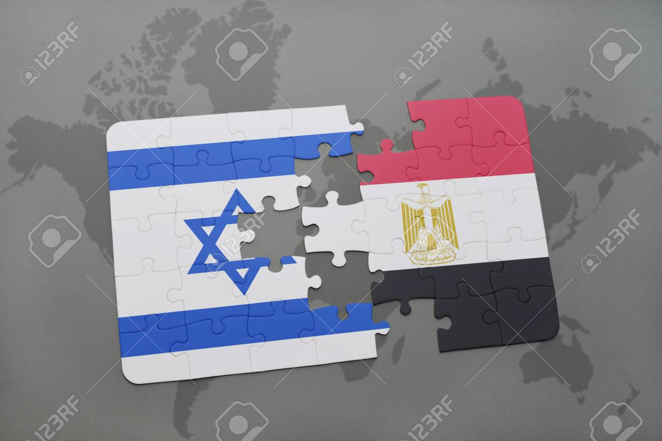 Puzzle with the national flag of israel and egypt on a world stock illustration puzzle with the national flag of israel and egypt on a world map background 3d illustration gumiabroncs Images