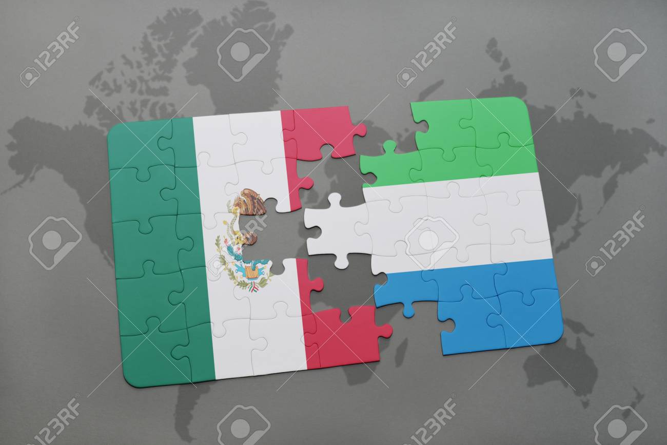 Puzzle With The National Flag Of Mexico And Sierra Leone On A