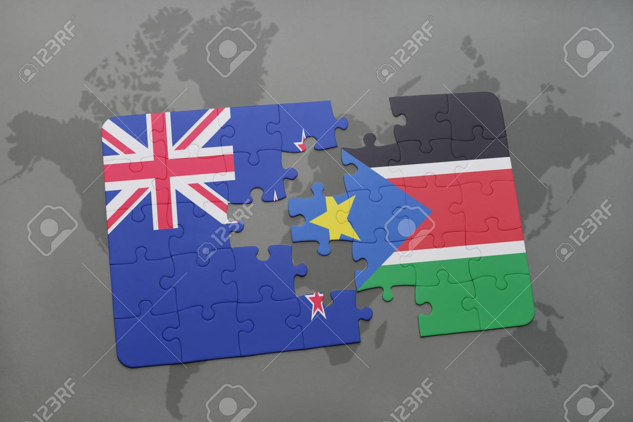 Puzzle with the national flag of new zealand and south sudan on a puzzle with the national flag of new zealand and south sudan on a world map background gumiabroncs Image collections