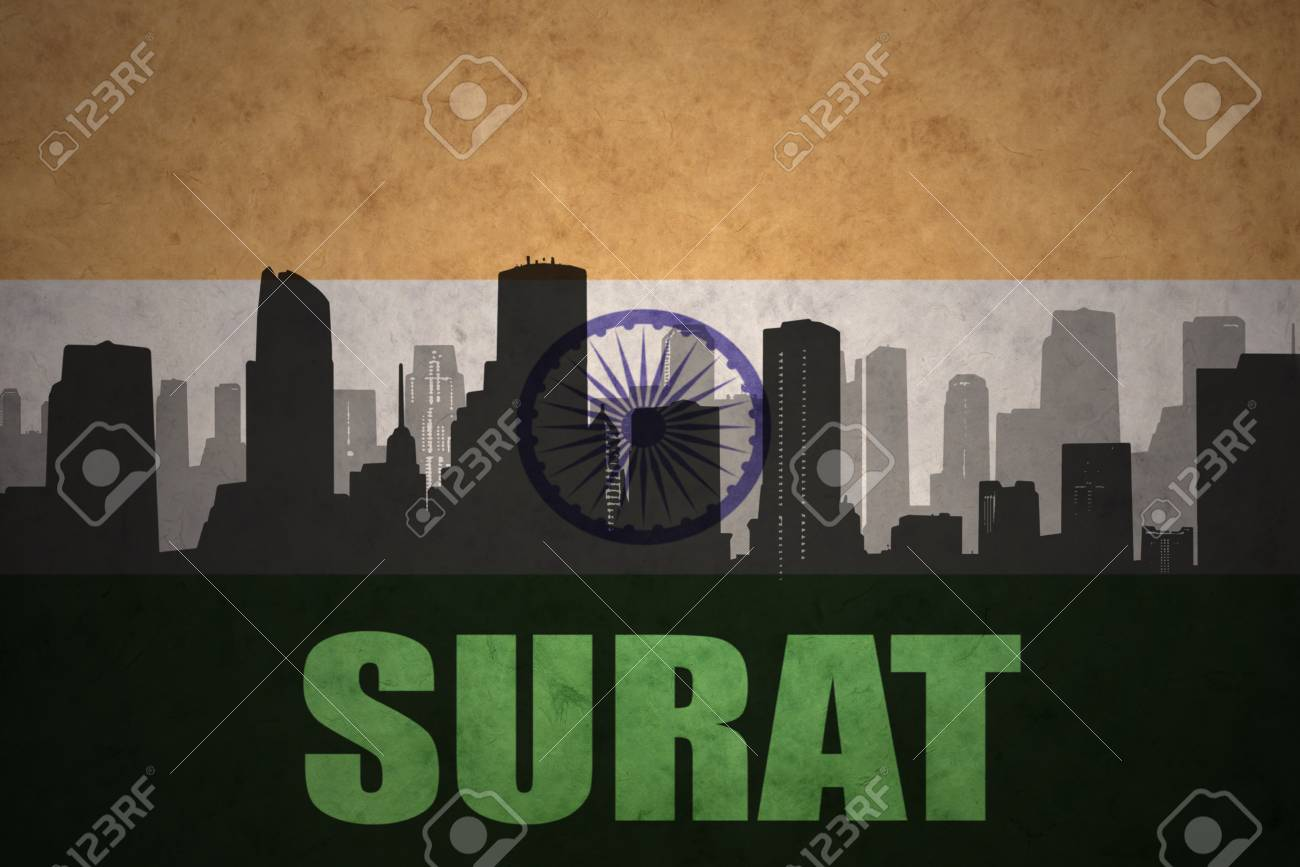 Abstract Silhouette Of The City With Text Surat At The Vintage