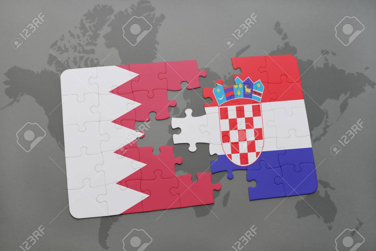 Puzzle with the national flag of bahrain and croatia on a world illustration puzzle with the national flag of bahrain and croatia on a world map background 3d illustration gumiabroncs Images