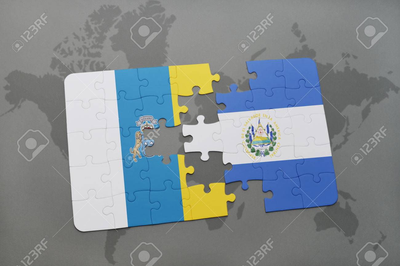 Puzzle With The National Flag Of Canary Islands And El Salvador